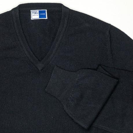 Fedeli V-Kragen Pullover in schwarz aus Kaschmir