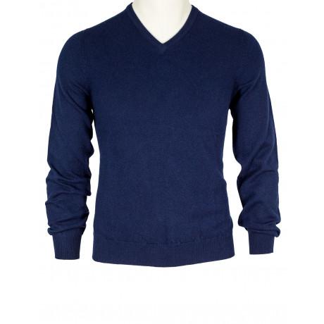 Fedeli V-Kragen Pullover in dunkelblau aus Kaschmir