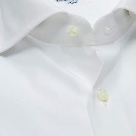 Cesare Attolini Hemd in weiß mit Haikragen und Doppelmanschette