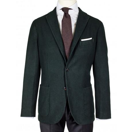 Boglioli Sakko in dunkelgrün aus Wolle mit aufgesetzten Taschen