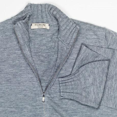 Fioroni Strickjacke in grau mit Reißverschluss aus Kaschmir