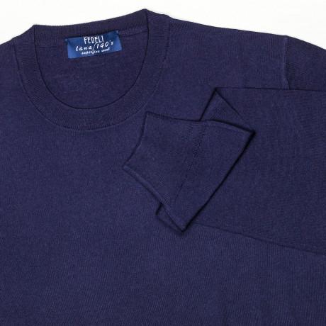 Fedeli Rundhalspullover in dunkelblau aus Superfine S'140 Wolle