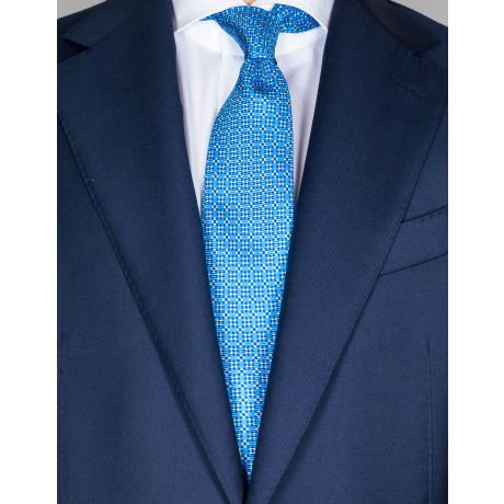 Kiton Krawatte in himmelblau mit dunkelblauem/beigem Muster