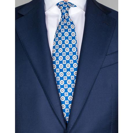 Cesare Attolini Krawatte in blau mit beige/weißem Muster