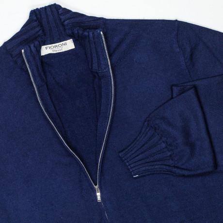 Fioroni Strickjacke in dunkelblau mit seitlichen Taschen aus Kaschmir