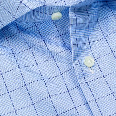 Luigi Borrelli Hemd in hellblau mit Glencheckmuster und Haikragen