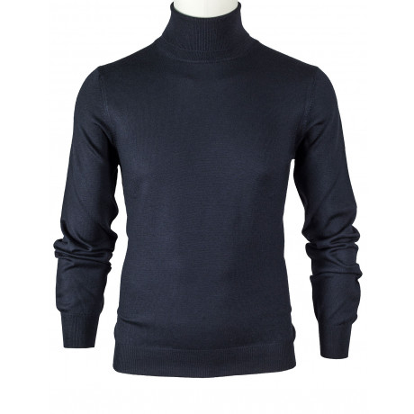 SOBS Rollkragenpullover in schwarz aus Schurwolle