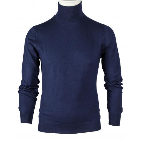 SOBS Rollkragenpullover in dunkelblau aus Schurwolle