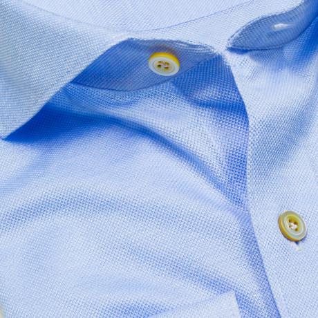Finamore 1925 Jerseyhemd in hellblau aus dünner Baumwolle mit Haikragen