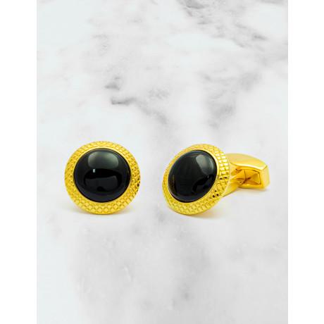 Tateossian Bullseye Onyx Gold Plated Manschettenknöpfe