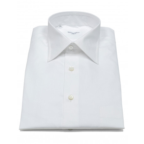 Cesare Attolini Hemd in weiß mit Brusttasche, Doppelmanschette und Kentkragen