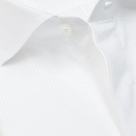 Finamore 1925 Smokinghemd in weiß mit Doppelmanschette und Haikragen