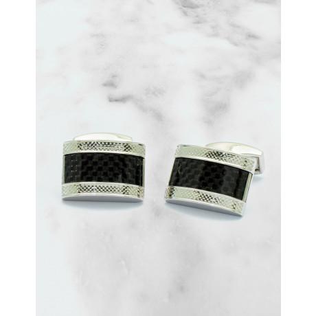 Tateossian Black Carbon Fibre Rhodium Manschettenknöpfe