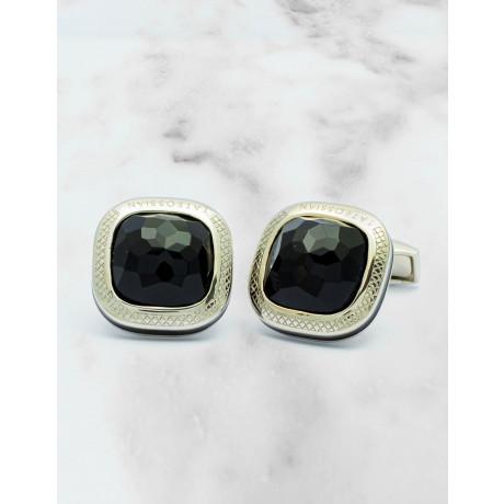 Tateossian Onyx Black / Black Enamole Sterling Silver Manschettenknöpfe