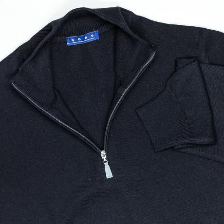 SOBS Strickjacke mit Reißverschluss in schwarz aus Kaschmir