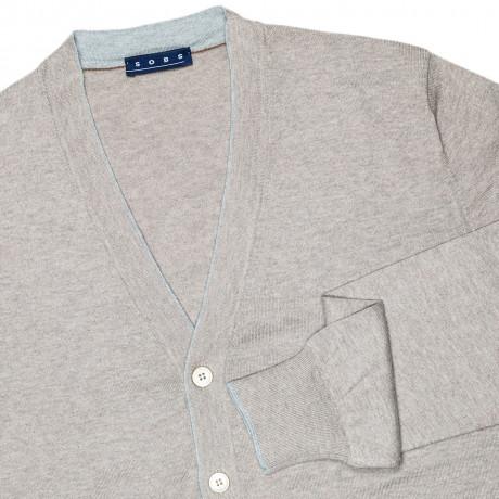 SOBS Strickjacke in beige mit grauer Kante aus Baumwolle / Kaschmir / Seide