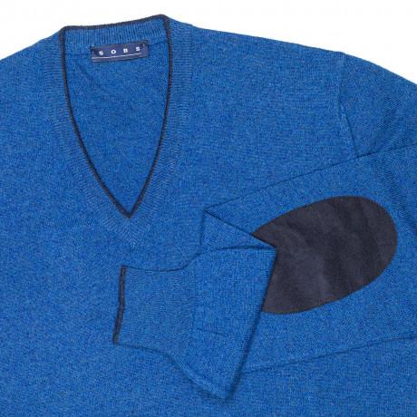SOBS V-Kragenpullover in saphirblau aus Kaschmir mit dunkelblauen Velourslederpatches