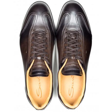 Santoni Sneaker in dunkelbraun verlaufend