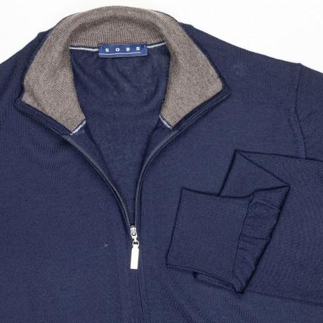 SOBS Strickjacke mit Reißverschluss in dunkelblau aus Kaschmir