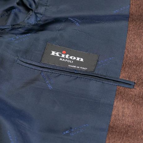 Kiton Sakko in kastanienbraun mit aufgesetzten Taschen aus Kaschmir / Seide
