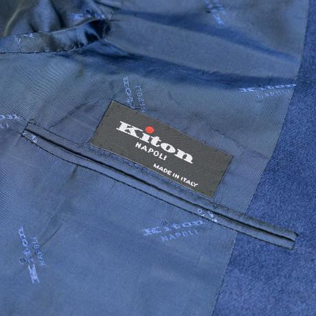 Kiton Sakko in nachtblau mit aufgesetzten Taschen aus Kaschmir / Seide