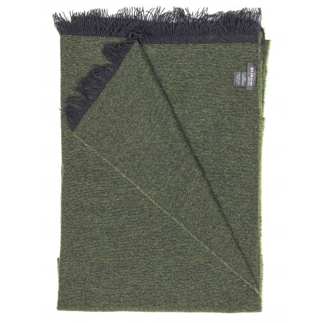 Kiton Schal in dunkelgrün mit dunkelblauen Fransen aus Kaschmir