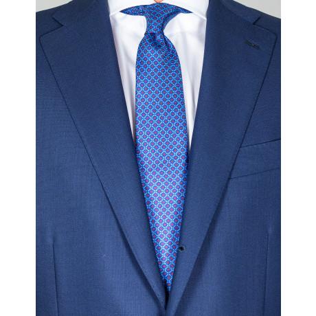 Kiton Krawatte in blau mit roten Karos