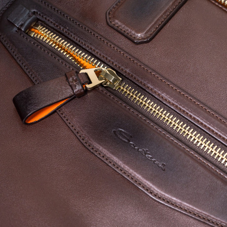 Santoni Laptoptasche in dunkelbraun mit aufwendiger Politur aus Leder