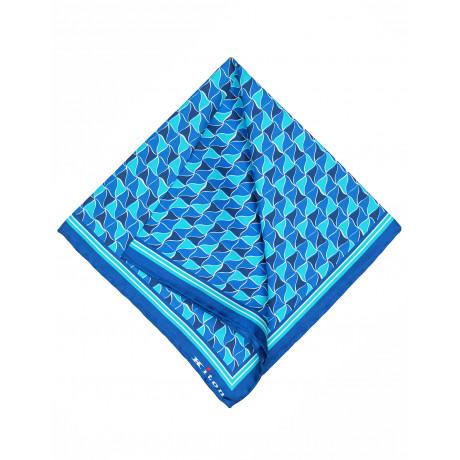 Kiton Einstecktuch in blau mit blau - dunkelblau - türkisem Muster und handrollierter Kante