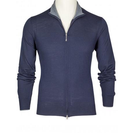 SOBS Strickjacke mit Reißverschluss in dunkelblau aus dünner Schurwolle
