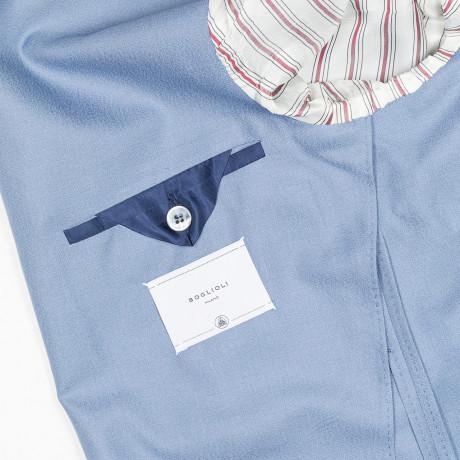 """Boglioli Sakko """"K-Jacket"""" in taubenblau mit aufgesetzten Taschen aus Kaschmir / Seide"""