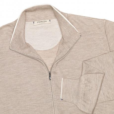 Fioroni Strickjacke in braun-beige mit Reißverschluss und 2 Taschen aus Kaschmir / Seide