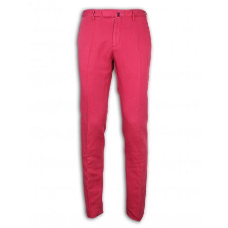 Incotex Chino in himbeer rot aus Leinen / Baumwolle