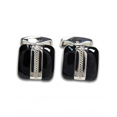 Tateossian Silver Rally Band Square Black Agate Manschettenknöpfe