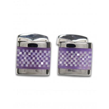 Tateossian Silver Purple Chequer Platz Manschettenknöpfe