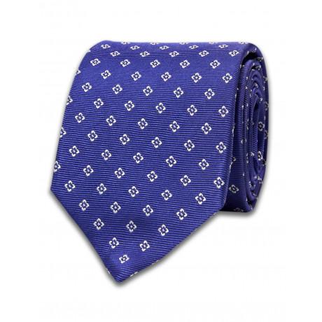 Luigi Borrelli Krawatte blau mit weißem Viereck